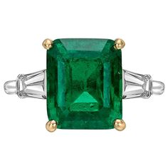 Cartier 4.99 Carat Colombian Emerald Diamond Ring For Sale at 1stdibs