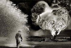 puits de pétrole en feu, éteint par les canadiens - Sebastiao Salgado
