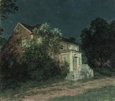 """The White Lilacs,"" Willard Leroy Metcalf, oil on canvas, 28 x 32 Freer Gallery of Art. Nocturne, Cool Landscapes, Landscape Paintings, Oil Paintings, Wildwood Flower, Freer Gallery, Moonlight Painting, Old Lyme, American Impressionism"