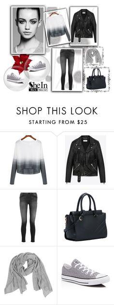 """Grey White Knitwear"" by nermina-okanovic ❤ liked on Polyvore featuring Komar, Trowbridge, Yves Saint Laurent, J Brand, Samantha Holmes, Converse and shein"