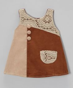 Take a look at this Brown Lace Patch Corduroy Dress - Toddler & Girls on zulily today!