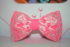 Hot Pink Lace Covered Hair Bow  Chic Classic