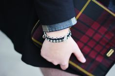 Jennifer from @Jenn L D. is wearing a Swarovski Studio Crystal Bracelet. Photo courtesy of http://thewhitestudio.be/2013/02/outfit-metallics-tartan/ Purchase your bracelet here http://www.swarovski.com/1160520/product/Studio_Crystal_Bracelet?BannerID=8003020.6