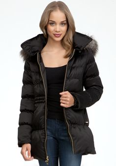 bebe Faux Fur Trim Puffer Jacket