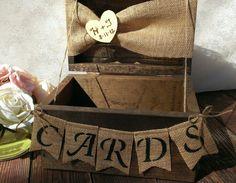 Rustic wedding card box - burlap wedding reception card box - via Etsy. Rustic Card Box Wedding, Wedding Reception Cards, Wedding Cards, Diy Wedding, Wedding Decor, Dream Wedding, Country Wedding Favors, Camo Wedding, Wedding Beach