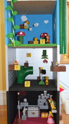 "Super Mario ""playhouse"" My son and I made a Mario house- so much fun! Almost everything we used we had around the house and just painted & re-purposed. Perfect for K'nex or the micro characters!"