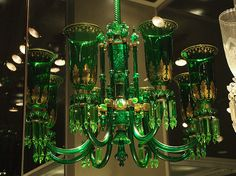 A green glass chandelier - made by F. & C. Osler, Birmingham, England, between 1860 and 1880.
