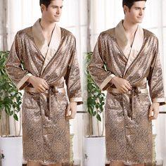 Men s Long Satin Robes Pajamas Sleepwear   Lounge Faux Silk Bathrobes  Nightgowns  amp  Bathrobes  Faux  Long  Lounge  men sactivewear  men sjeans  ... e9f2f4adf