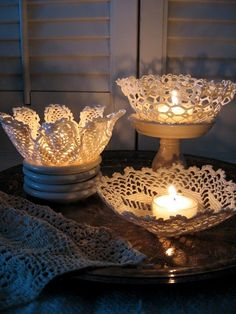 "How cool! Doily ""bowl""......with instructions. Not sure I'd use it with a real candle, though. Flame + fabric = fire hazard. I'll try a battery candle."