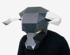 Bull Mask, DIY printable Animal Head, Instant Pdf download, DIY Halloween Paper Mask, Printable Minotaur Mask, 3D Pattern, Polygon Masks