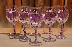 Fabulous and 40 Set of 5 Custom Wine Glasses  by TheGlassHeartCo, $75.00