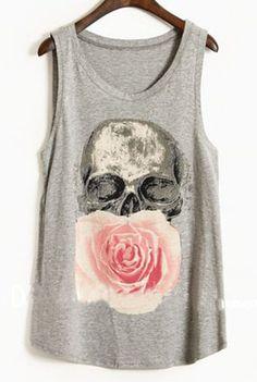 Grey Paintily Skull and Rose Print Sleeveless Tank Top