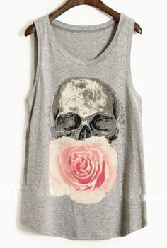 Grey Paintily Skull and Rose Print Sleeveless Tank Top