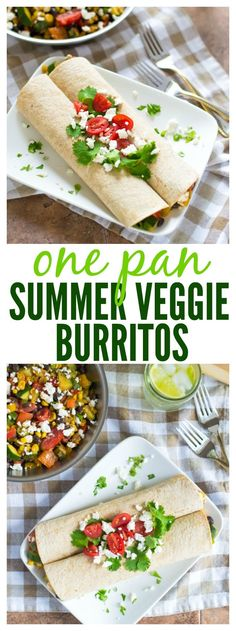 Use up extra summer veggies by making these Easy One Pan Summer Veggie Burritos! Ready in 30 minutes and packed with bright flavor. // Well Plated