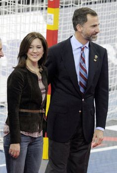 Princess Mary of Denmark and Prince Felipe of Spain attend the Men's Handball World Championship 2013 final match between Spain and Denmark on 27 Jan 2013