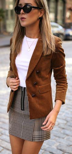 #fall #outfits women's white crew-neck shirt, brown blazer and gingham mini skirt outfit