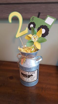 I absolutely adore pinwheels! I had to include them in the centerpieces for my sons tractor themed birthday party. I hope that you love them as much as I do! This listing is for three tractor themed centerpieces. The centerpiece items will include: one tractor, one pinwheel, and one number. Please select the age during checkout. The pinwheels are 4 inches in diameter. The number is 4 inches tall. The tractor is 4 inches wide. This listing *DOES NOT* include the yellow paper shreds or the…