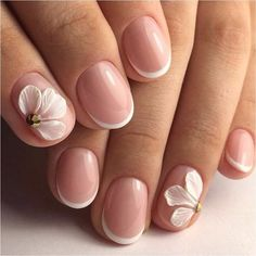 French manicure ideas 2017, French nail art, Hardware nails, Ideas of gentle nails, modeling nails, Nails with acrylic powder, Party nails, Pastel nail designs I just love this, the nails are neat and short, safe to wear in a business setting. Cute, short nails.