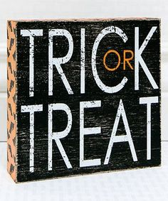 Loving this Black 'Trick or Treat' Square Box Sign on #zulily! #zulilyfinds
