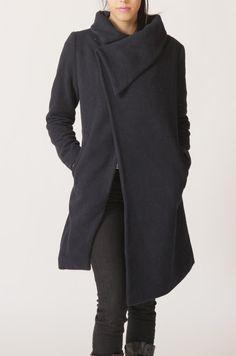 big collar wool coat BLACK winer warm coat FM011Size by RenzRags