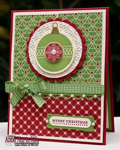 Stampin' Anne. Beautiful Christmas card by Anne Hile using new SU products.  Love the new gumball green.