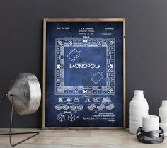Monopoly Kunstdruck, Monopoly Print, Monopoly Artprint, Monopoly Blaupause, Monopoly digitales Poster, Monopoly druckbares Poster von FineArtHunter auf Etsy