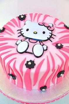 Hello Kitty Cake w/pink zebra stripes Bolo Da Hello Kitty, Hello Kitty Birthday, Pretty Cakes, Cute Cakes, Beautiful Cakes, Pink Zebra Cakes, Anniversaire Hello Kitty, Bolo Original, Cat Party
