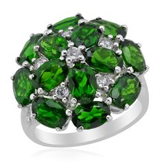 Liquidation Channel: Russian Diopside and White Zircon Ring in Platinum Overlay Sterling Silver (Nickel Free)