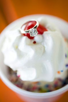 creative ring shot | engagement ring on top of ice cream sundae | NJ wedding photos | Studio A Images