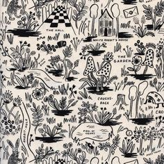 Cotton + Steel 0476812 Rifle Paper Co. Wonderland Magic Forest Neutral Fabric by the Yard Rifle Paper Company, Stash Fabrics, Travel Nursery, Magic Forest, Photography Competitions, Illustrations, Alice In Wonderland, Printing On Fabric, Sewing Projects