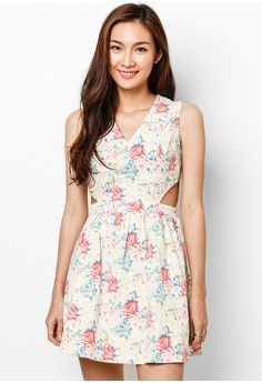 V-neck cut-out fit & flare dress