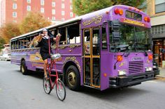 LaZoom Tours of Asheville NC.  Ride the purple open-air comedy bus of quirky entertainment & laughs while touring Asheville's favorite neighborhoods & landmarks lead by a knowledgeable guide full of fun & facts!  3 Comedy tours: City Tour, Haunted Tour, Band & Beer Tour. Buses seat only 40, so reserve early. Romantic Asheville photo. Advance tickets online or by phone.  14 Battery Park Ave, Asheville  828-225-6932 #asheville #tour #comedy AshevilleVacationHomes.com