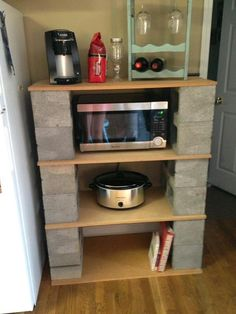 Ideas for our home. DIY plant stand ideas you can easily make on your home. Tags: DIY plant stand, p Balcony Furniture, Diy Furniture, Furniture Design, Apartment Furniture, Kitchen Furniture, Kitchen Interior, Cinder Block Shelves, Cinder Blocks, Cinder Block Ideas