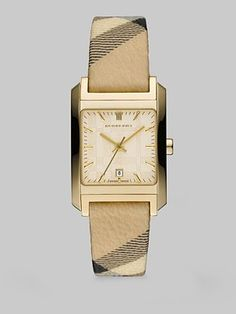 Burberry - Gold Ion-Plated Stainless Steel Watch - Saks.com  Tell time in a fashionable way!  #SaksLLTrip