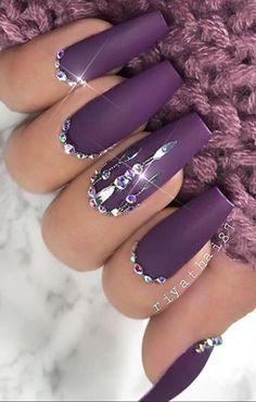 Perfect Purple W / Bling Nail Art - -You can find Bling nails and more on our website.Perfect Purple W / Bling Nail Art - - Dark Purple Nails, Purple Nail Art, Purple Nail Designs, Nail Art Designs, Plum Nails, Nails Design, Dark Nail Designs, Nails Gelish, Matte Nails