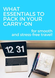 """Ever been traveling and had that, """"Oh, crap, I forgot it"""" moment?  I'm pretty sure we've all been there.  When you're planning a trip, it's essential to have certain items in your  carry-on. You want to avoid those forgetful moments as much as possible!  Since I'm about to head on a 3-week, 4-country trip for a short-term travel  job, I want to share with you what I bring in my carry-on bag.  This roundup of carry-on essentials is what I recommend you bring on your  carry-on trip!"""