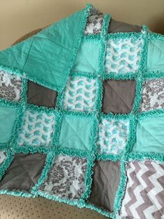 Teal and Gray Elephants and Chevrons Rag Quilt by ZeedleBeez on Etsy