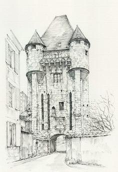 Porte du Croux anno 1900, Nevers, Nièvre, France by Linda Vanysacker - Van den Mooter