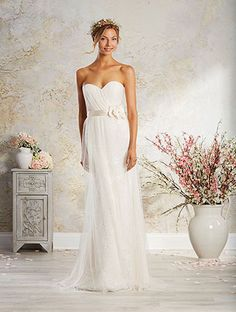 Alfred Angelo Style 8565A: strapless wedding dress with a soft net skirt