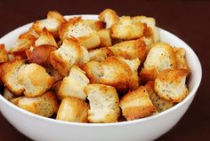 homemade croutons - I used butter flavored cooking spray instead of oil, a dash of garlic salt, a pinch of Italian seasoning--yum! How To Make Croutons, Pan Frito, Crouton Recipes, Great Recipes, Favorite Recipes, Gimme Some Oven, Good Food, Yummy Food, Yummy Eats