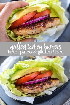Learn how to make the best juicy grilled turkey burgers with no breadcrumbs. T… Learn how to make the best juicy grilled turkey burgers with no breadcrumbs. This healthy turkey burger recipe is gluten-free, keto and paleo! Paleo Turkey Burgers, Homemade Turkey Burgers, Ground Turkey Burgers, Greek Turkey Burgers, Turkey Burger Recipes, Paleo Burger, Healthy Grilling, Grilling Recipes, Easy Healthy Recipes