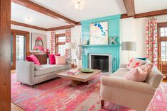 Colorful living room design to create joy! - by Lilu Interiors #color #colorpalette #colorpaletteideas #colorscheme #colorschemeideas #interiorcolorpalette #interiorcolorschemes #interiorcolorpaletteideas #interiorcolorschemeideas #liluinteriors #livingroom #livingroomdesign #interiordesign #interiordecor #createjoy #joyfuldesigns