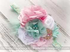 Find this in my Etsy shop! Mint, Pink & Gold Fabric Flower Headband - girls, baby, newborn, toddler, shower, gift, bows, photography, photo, prop, white, wedding | Etsy | Noelle Grace Designs