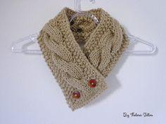 Thelma Salles ღ Artesanatos: Gola em tricô com trança