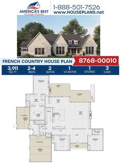 Get to know our newly exclusive French Country design. Plan 8768-00010 is highlighted by 3,911 sq. ft., 2-4 bedrooms, 2.5 bathrooms, an elevator feature, an exercise room, an office and a mud room. Learn more about Plan 8768-00010 on our website. Floor Plan Drawing, French Country House Plans, French Countryside, Best House Plans, Build Your Dream Home, Workout Rooms, Elevator, Square Feet, Mud