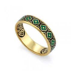 Православное кольцо с эмалью КПЭ002-11 ручной работы выполненное из серебра с позолотой