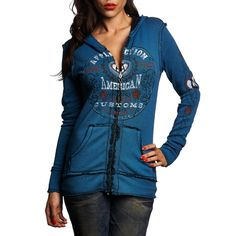 SANTA ROSA reversible zip up hoodie  decorated with raw edge inside out seams two  custom affliction prints  and a black and blue wash.