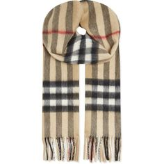 BURBERRY Large check cashmere scarf ($515) ❤ liked on Polyvore featuring accessories, scarves, camel, burberry scarves, burberry shawl, cashmere scarves, fringed shawls and cashmere shawl