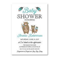 Editable PDF Baby Shower Invitation DIY - Country Teal Tribal Bear - Instant Download Printable- Edit in Adobe Reader