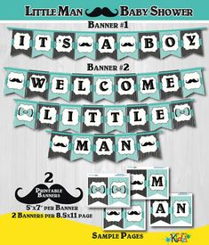 Instant Download! Printable Little Man Baby Shower Banners-Printable Mustache Baby Shower Banner-Its A Boy and Welcome Little Man Banners ONLY-Teal ========================================= IMPORTANT NOTES - Please READ before purchase ========================================= *